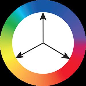 Três cores com espaçamento igual no círculo.