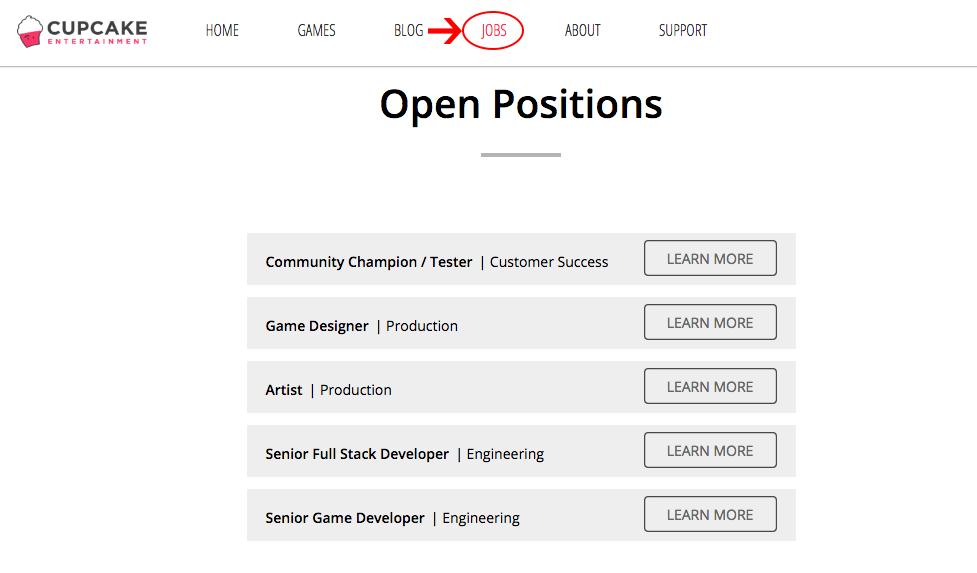 Vagas de emprego em empresas de jogos - Cupcake Entertainment
