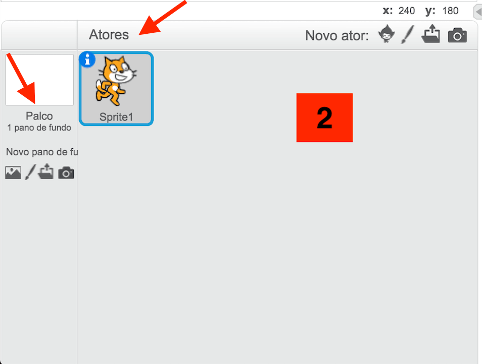 Os objetos na interface do Scratch