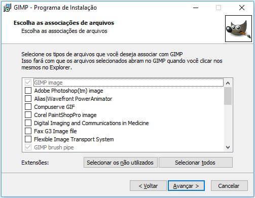 Personalizando tipos de arquivos na instalação