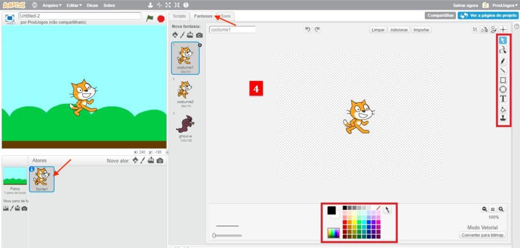 Diferentes opções de customização para o objeto Ator