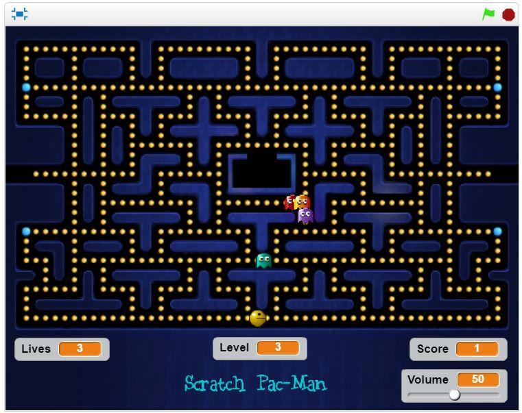 É possível fazer um jogo no estilo pacman no Scratch