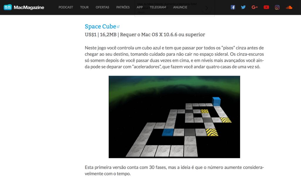 Jogo Space Cube feito com assets