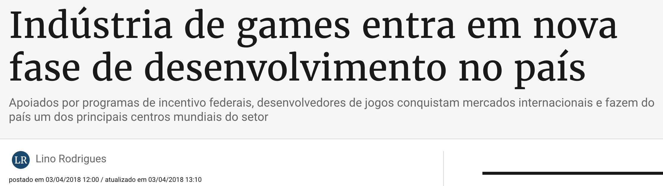 Indústria de Games entra em fase de desenvolvimento no Brasil incluindo a a rea de Design Gráfico