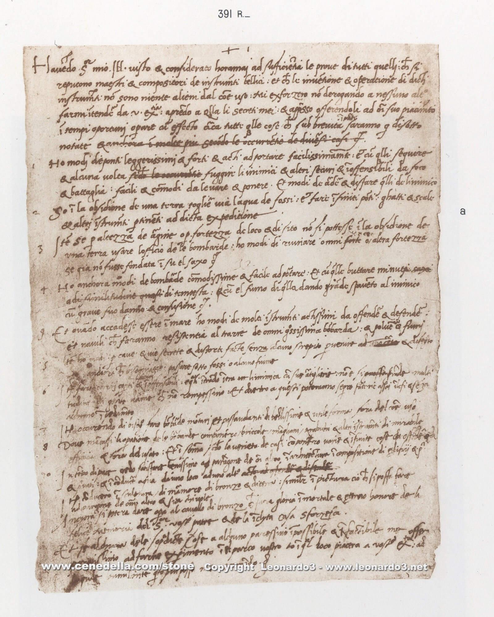 carta esquecida de Leonardo Da Vinci