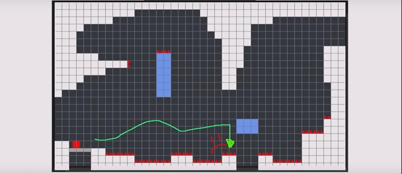 alteração nos elementos de um level do jogo Celeste