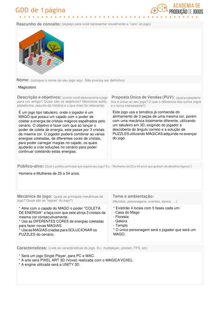 Game Design Document de um jogo Magicolors